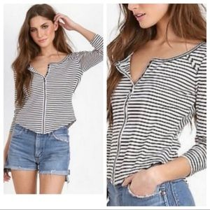 Free People Stars & Stripes Henley Cropped Top